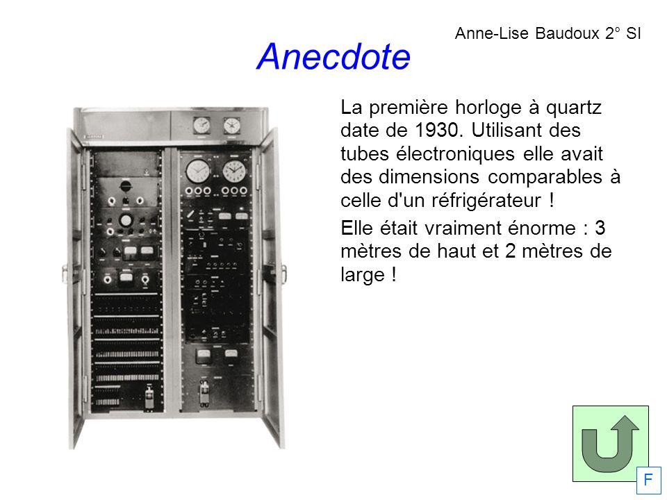 La première horloge à quartz date de 1930. Utilisant des tubes électroniques elle avait des dimensions comparables à celle d'un réfrigérateur ! Elle é