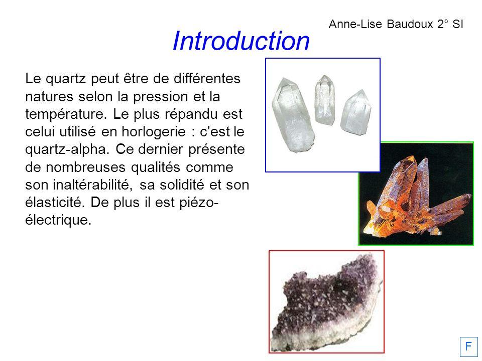 Introduction Le quartz peut être de différentes natures selon la pression et la température. Le plus répandu est celui utilisé en horlogerie : c'est l