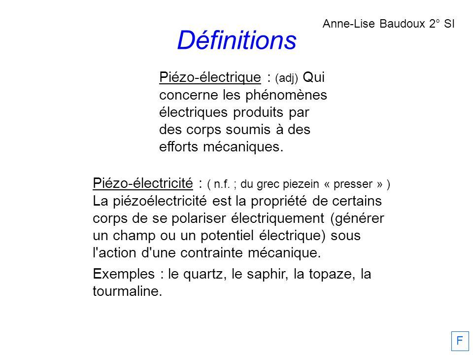 Piézo-électrique : (adj) Qui concerne les phénomènes électriques produits par des corps soumis à des efforts mécaniques. Piézo-électricité : ( n.f. ;