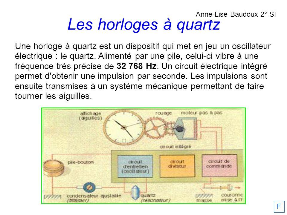 Une horloge à quartz est un dispositif qui met en jeu un oscillateur électrique : le quartz. Alimenté par une pile, celui-ci vibre à une fréquence trè