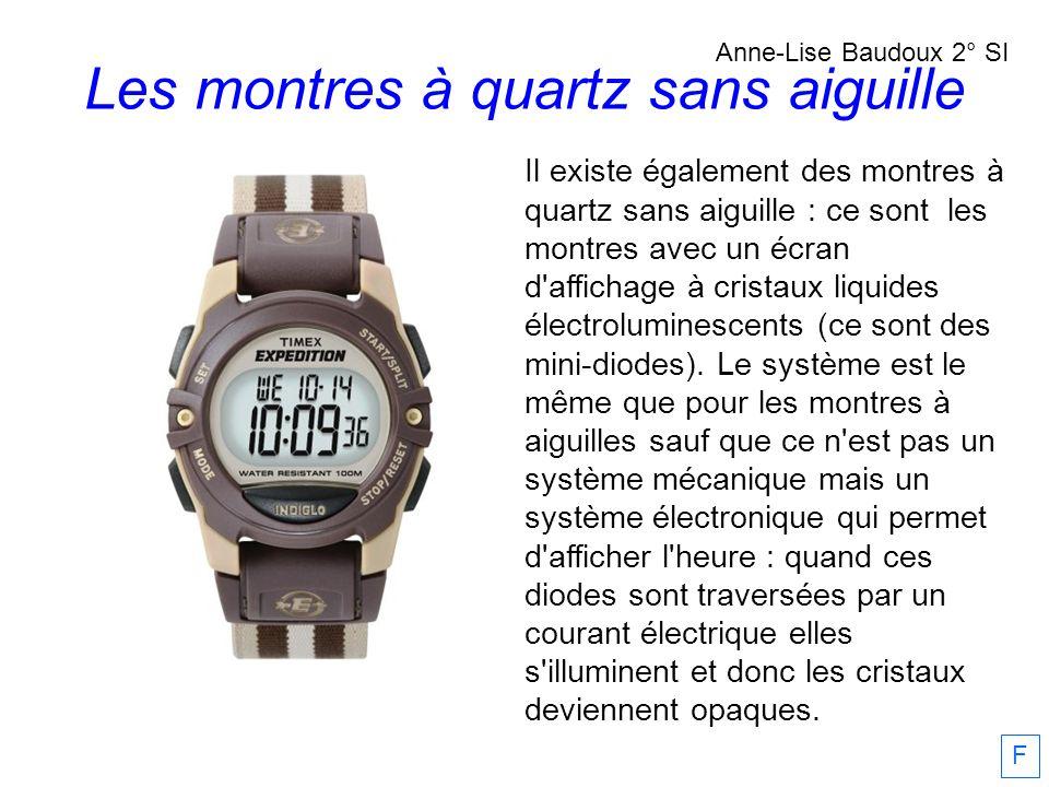 Il existe également des montres à quartz sans aiguille : ce sont les montres avec un écran d'affichage à cristaux liquides électroluminescents (ce son