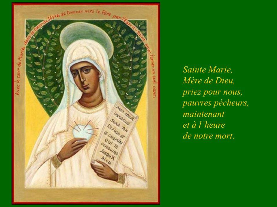 Vierge Marie, Mère de Miséricorde, tu as reçu le pouvoir d'écraser la tête du serpent, sois ma protectrice et conduis-moi à ton Fils, Jésus. Je te bén
