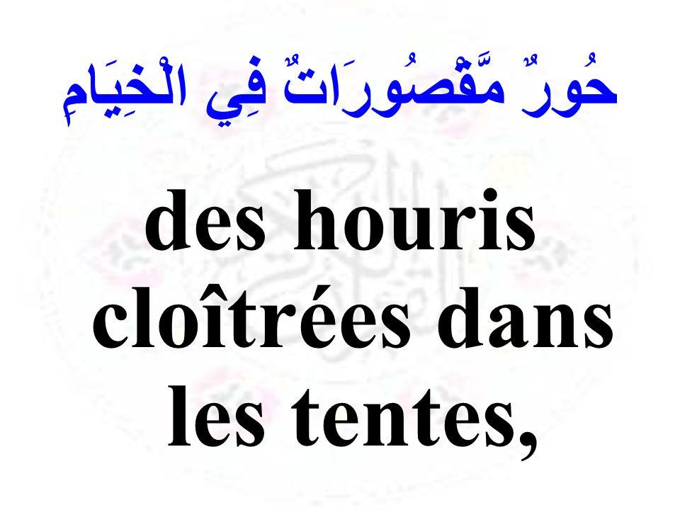 حُورٌ مَّقْصُورَاتٌ فِي الْخِيَامِ des houris cloîtrées dans les tentes,