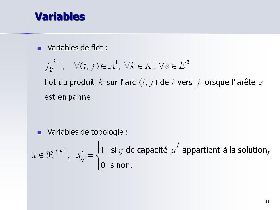 11Variables Variables de flot : Variables de flot : Variables de topologie : Variables de topologie :