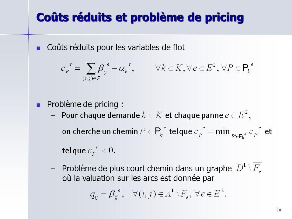 18 Coûts réduits et problème de pricing Coûts réduits pour les variables de flot Problème de pricing : – – Problème de plus court chemin dans un graph