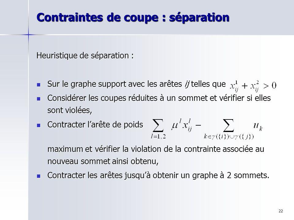 22 Contraintes de coupe : séparation Heuristique de séparation : Sur le graphe support avec les arêtes ij telles que Sur le graphe support avec les ar