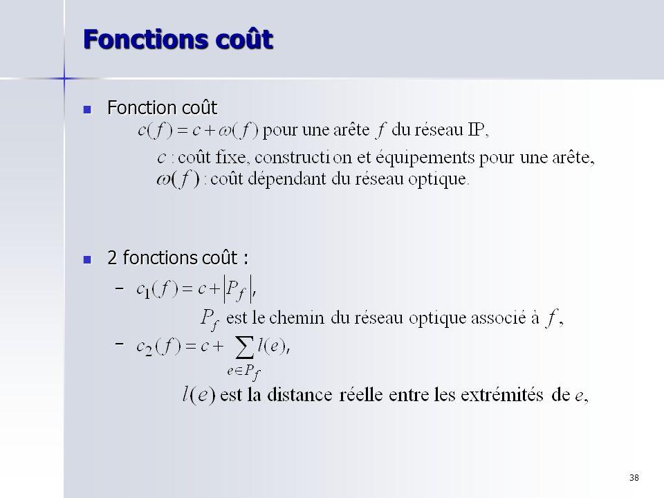 38 Fonctions coût Fonction coût Fonction coût 2 fonctions coût : 2 fonctions coût : – –