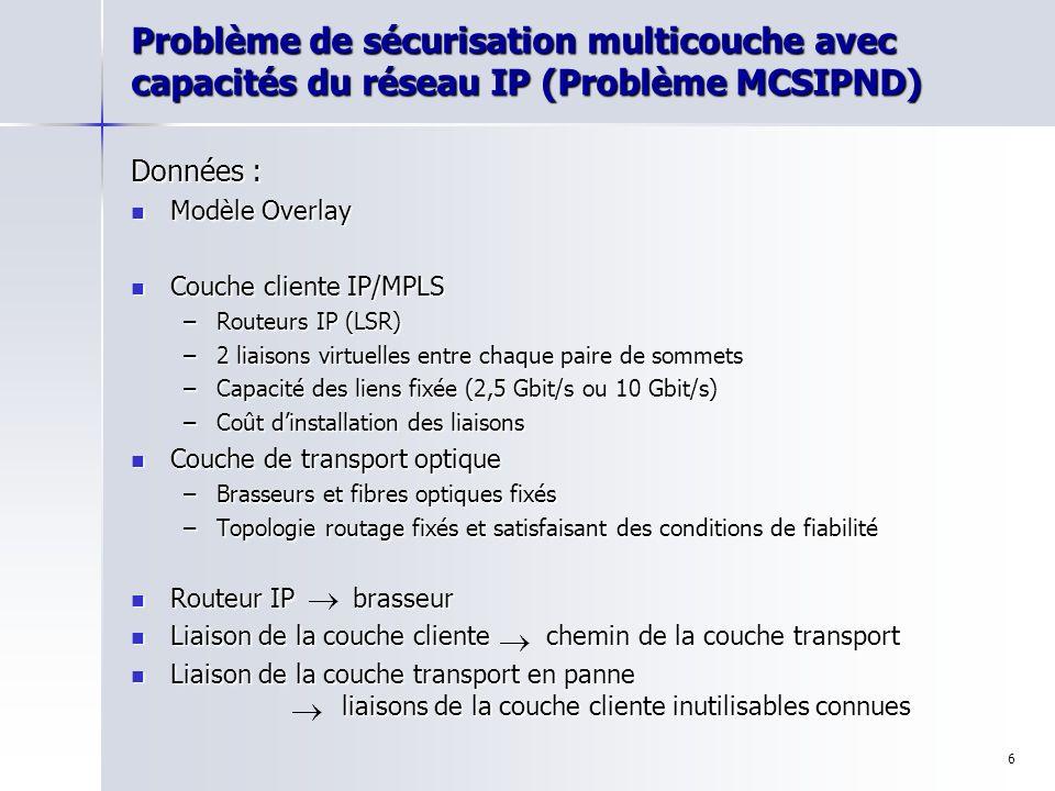 7 Problème de sécurisation multicouche avec capacités du réseau IP (Problème MCSIPND) Problème : Déterminer la topologie de la couche cliente telle que : –le réseau puisse écouler le trafic même en cas de panne dune liaison de la couche de transport, –les capacités soient respectées, –le coût soit minimum.