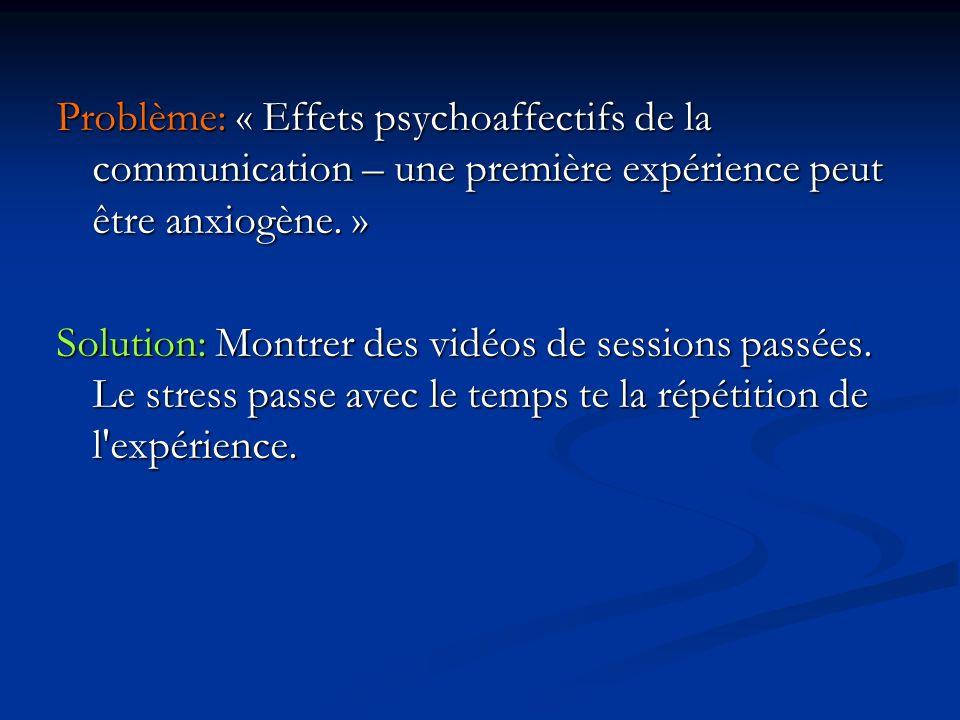 Problème: « Effets psychoaffectifs de la communication – une première expérience peut être anxiogène.