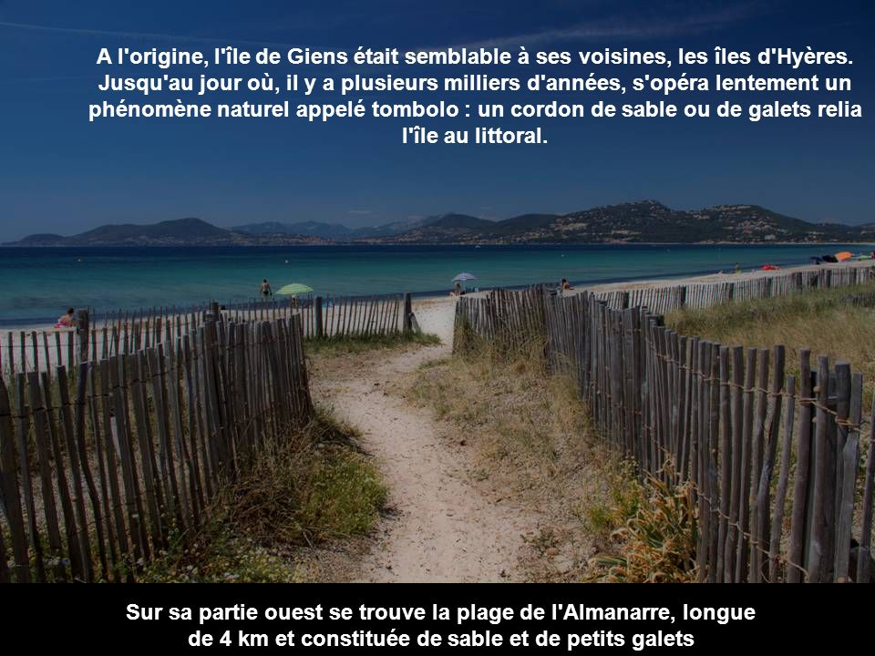 Presqu'île de Giens La presqu'île de Giens est une presqu'île située sur la commune d'Hyères (Var). On y accède par la route de la Capte, ou par la ro