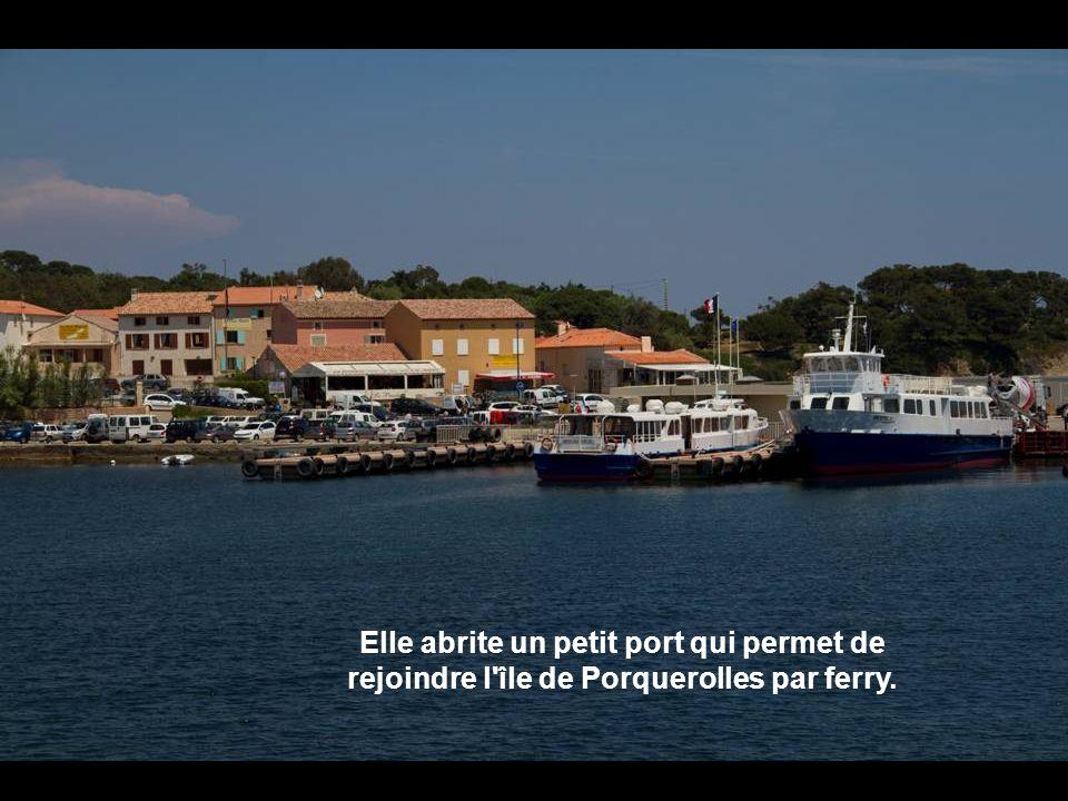 Elle abrite un petit port qui permet de rejoindre l île de Porquerolles par ferry.