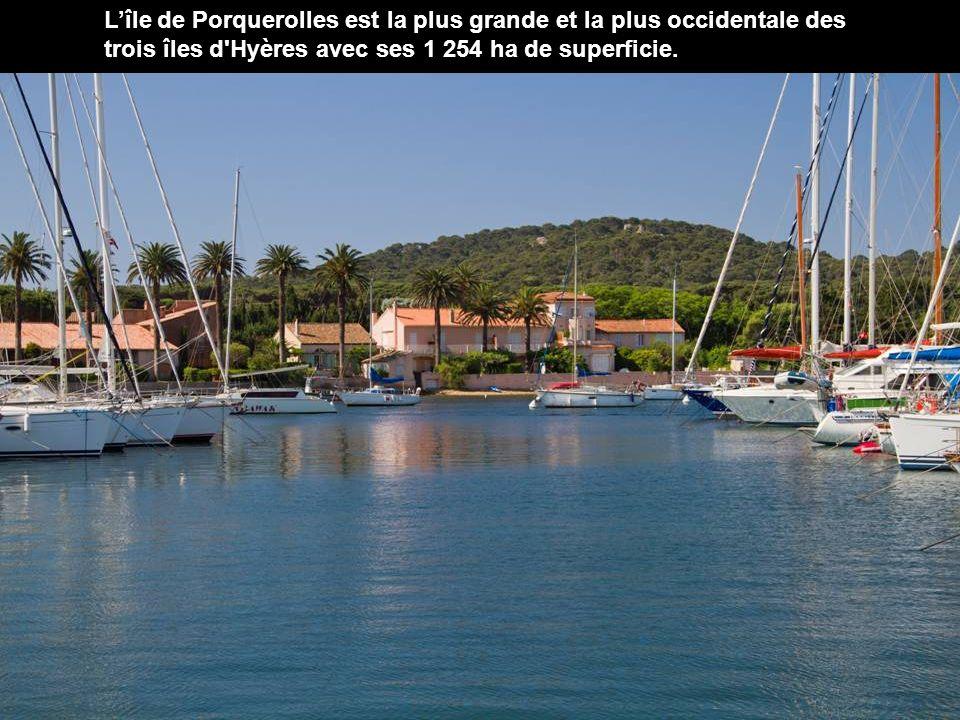 Lîle de Porquerolles est la plus grande et la plus occidentale des trois îles d Hyères avec ses 1 254 ha de superficie.