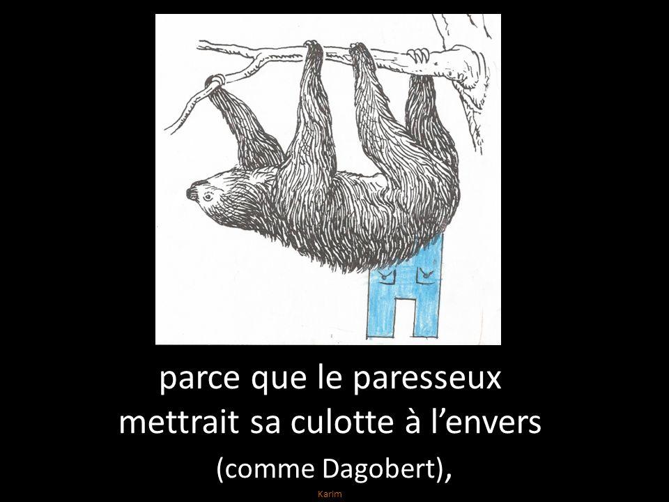 parce que le paresseux mettrait sa culotte à lenvers (comme Dagobert), Karim