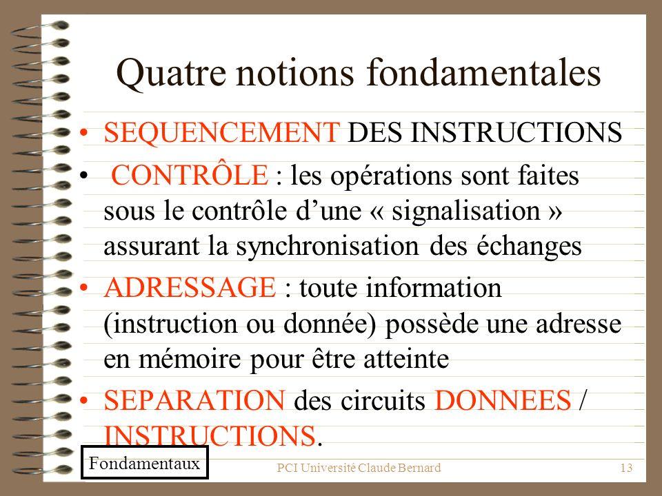 PCI Université Claude Bernard13 Quatre notions fondamentales SEQUENCEMENT DES INSTRUCTIONS CONTRÔLE : les opérations sont faites sous le contrôle dune