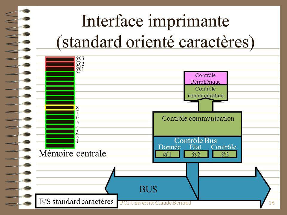 PCI Université Claude Bernard16 Interface imprimante (standard orienté caractères) BUS Contrôle communication Contrôle Périphérique @1 @2 @3 1 2 7 6 5