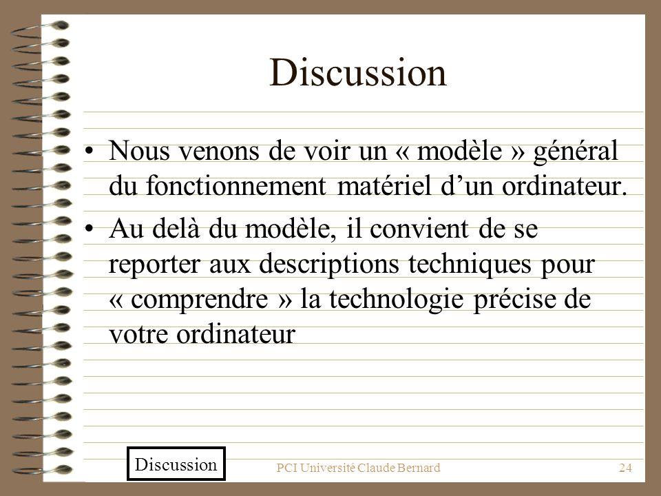 PCI Université Claude Bernard24 Discussion Nous venons de voir un « modèle » général du fonctionnement matériel dun ordinateur. Au delà du modèle, il