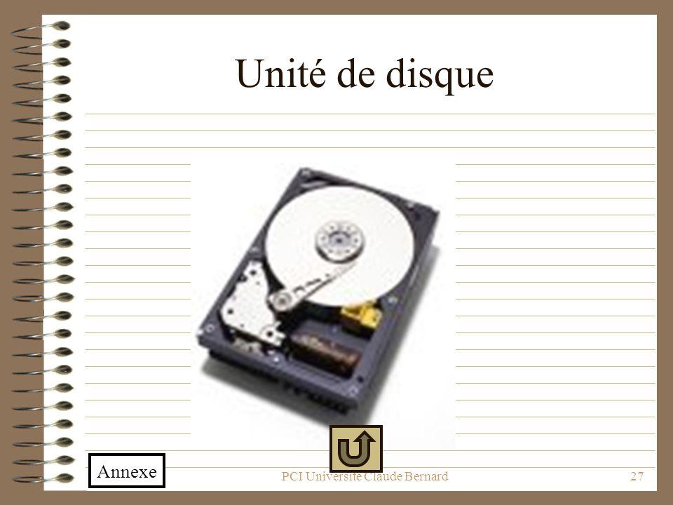 PCI Université Claude Bernard27 Unité de disque Annexe