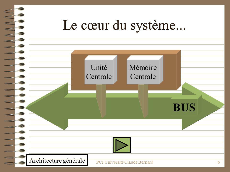 PCI Université Claude Bernard6 Le cœur du système... BUS Unité Centrale Mémoire Centrale Architecture générale