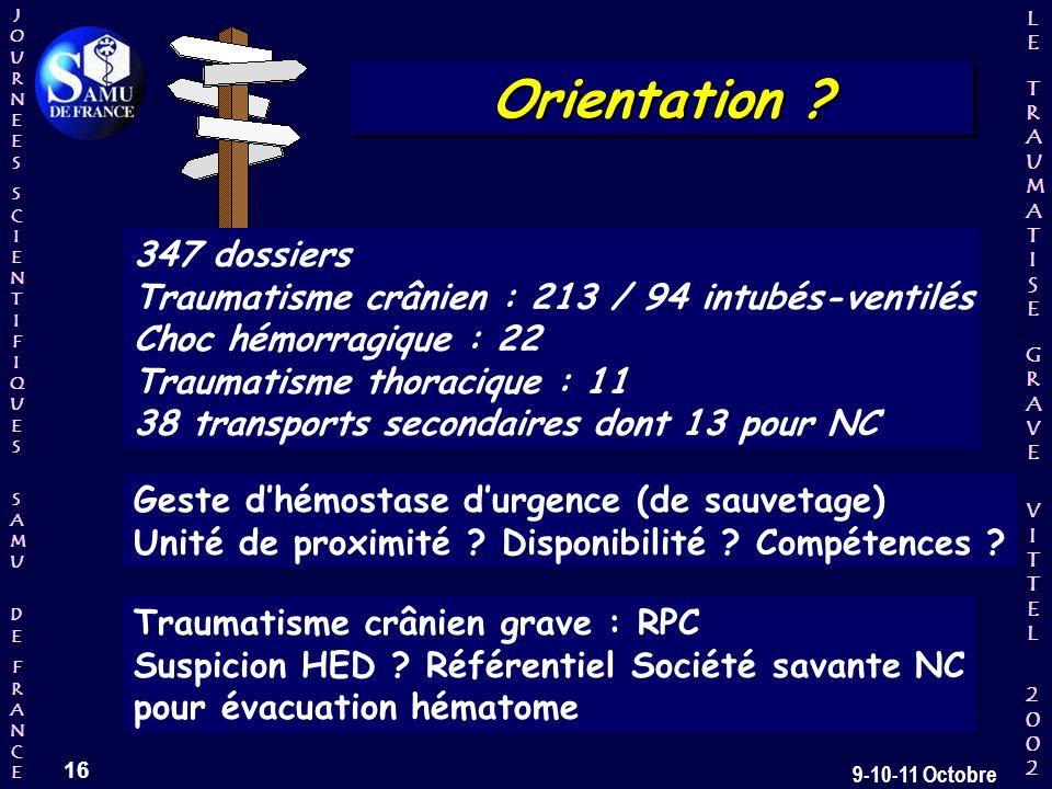 JOURNEESJOURNEESSCIENTIFIQUESSCIENTIFIQUES SAMU SAMU DE DEFRANCEFRANCEJOURNEESJOURNEESSCIENTIFIQUESSCIENTIFIQUES SAMU SAMU DE DEFRANCEFRANCE LELE TRAUMATISE TRAUMATISE GRAVE GRAVEVITTELVITTEL 2002 2002LELE TRAUMATISE TRAUMATISE GRAVE GRAVEVITTELVITTEL 2002 2002 16 9-10-11 Octobre Geste dhémostase durgence (de sauvetage) Unité de proximité .