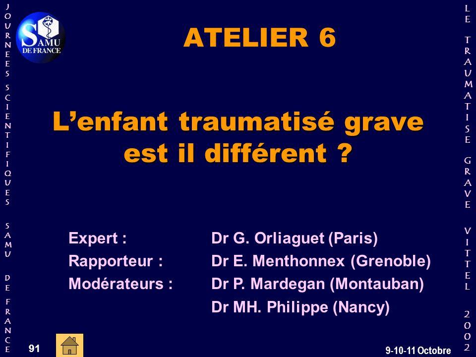 JOURNEESJOURNEESSCIENTIFIQUESSCIENTIFIQUES SAMU SAMU DE DEFRANCEFRANCEJOURNEESJOURNEESSCIENTIFIQUESSCIENTIFIQUES SAMU SAMU DE DEFRANCEFRANCE LELE TRAUMATISE TRAUMATISE GRAVE GRAVEVITTELVITTEL 2002 2002LELE TRAUMATISE TRAUMATISE GRAVE GRAVEVITTELVITTEL 2002 2002 91 9-10-11 Octobre ATELIER 6 Lenfant traumatisé grave est il différent .
