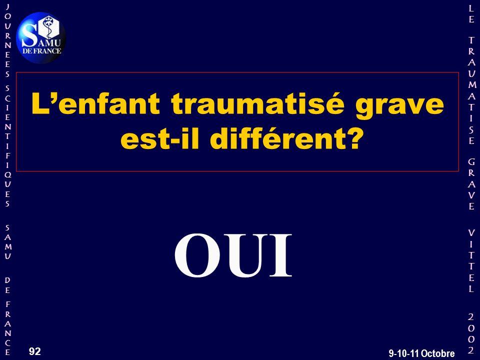JOURNEESJOURNEESSCIENTIFIQUESSCIENTIFIQUES SAMU SAMU DE DEFRANCEFRANCEJOURNEESJOURNEESSCIENTIFIQUESSCIENTIFIQUES SAMU SAMU DE DEFRANCEFRANCE LELE TRAUMATISE TRAUMATISE GRAVE GRAVEVITTELVITTEL 2002 2002LELE TRAUMATISE TRAUMATISE GRAVE GRAVEVITTELVITTEL 2002 2002 92 9-10-11 Octobre Lenfant traumatisé grave est-il différent.