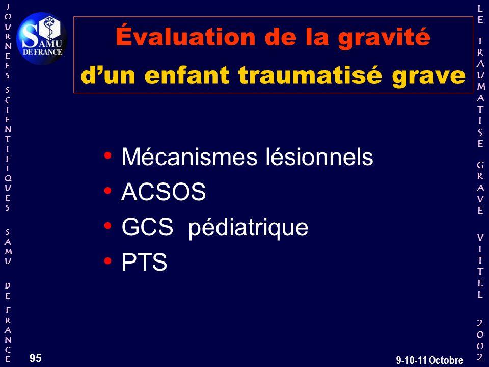 JOURNEESJOURNEESSCIENTIFIQUESSCIENTIFIQUES SAMU SAMU DE DEFRANCEFRANCEJOURNEESJOURNEESSCIENTIFIQUESSCIENTIFIQUES SAMU SAMU DE DEFRANCEFRANCE LELE TRAUMATISE TRAUMATISE GRAVE GRAVEVITTELVITTEL 2002 2002LELE TRAUMATISE TRAUMATISE GRAVE GRAVEVITTELVITTEL 2002 2002 95 9-10-11 Octobre Évaluation de la gravité dun enfant traumatisé grave Mécanismes lésionnels ACSOS GCS pédiatrique PTS