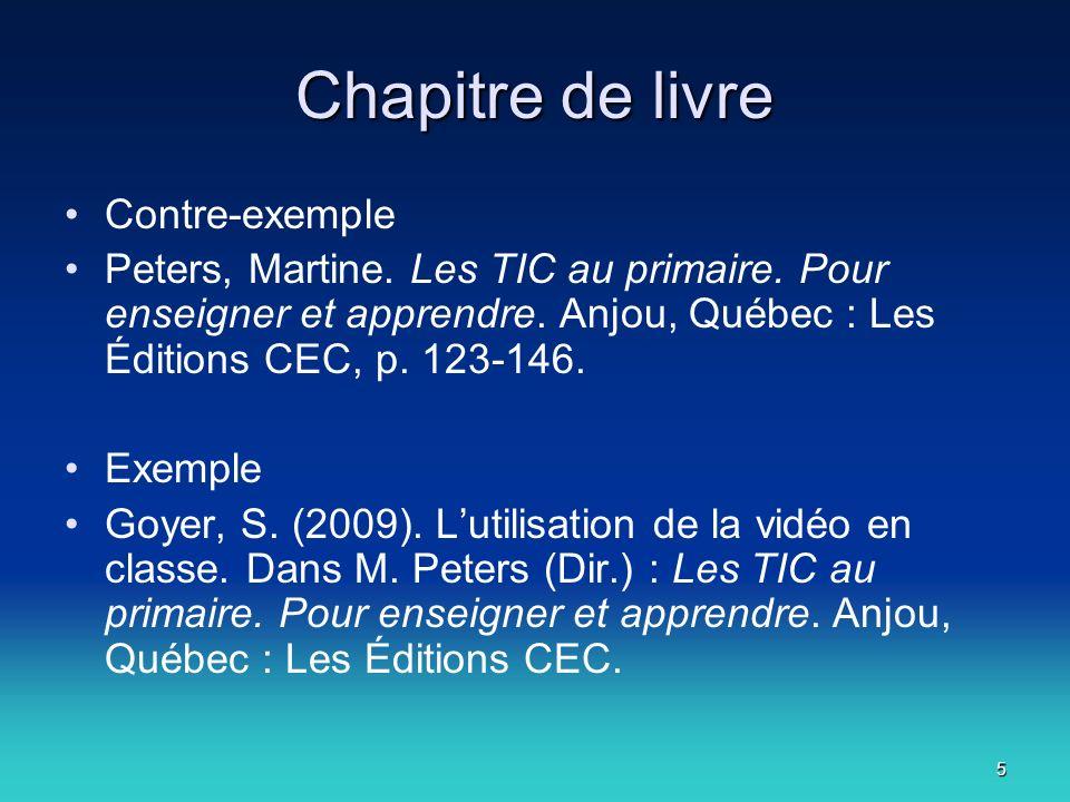 6 Article Contre-exemple Marceau, Francine.« Quand nos rêves se réalisent ».
