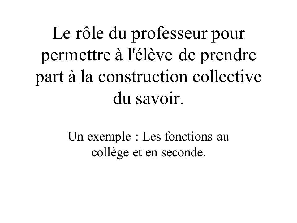 Le rôle du professeur pour permettre à l'élève de prendre part à la construction collective du savoir. Un exemple : Les fonctions au collège et en sec