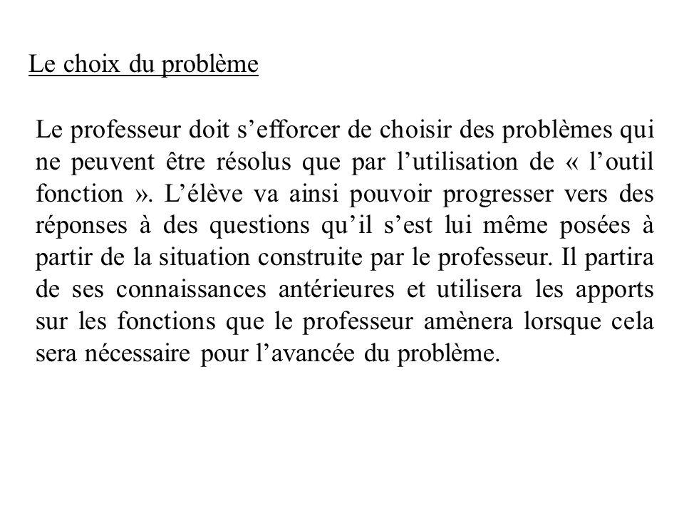 Le choix du problème Le professeur doit sefforcer de choisir des problèmes qui ne peuvent être résolus que par lutilisation de « loutil fonction ». Lé