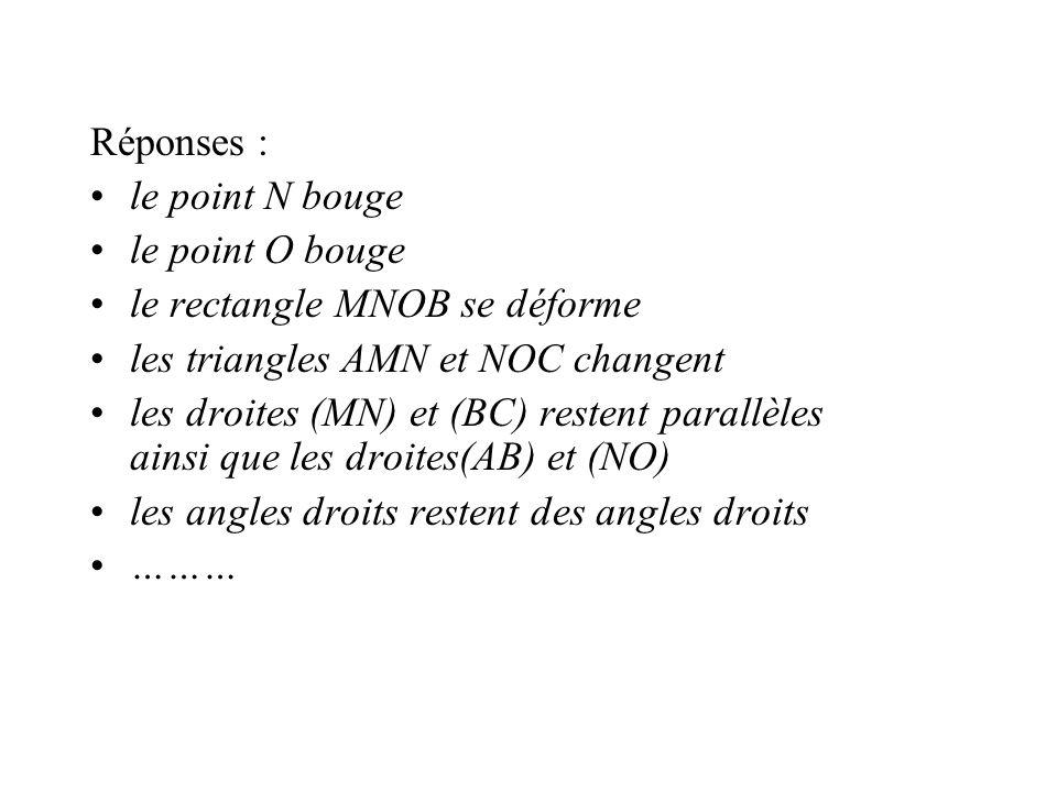 Réponses : le point N bouge le point O bouge le rectangle MNOB se déforme les triangles AMN et NOC changent les droites (MN) et (BC) restent parallèle