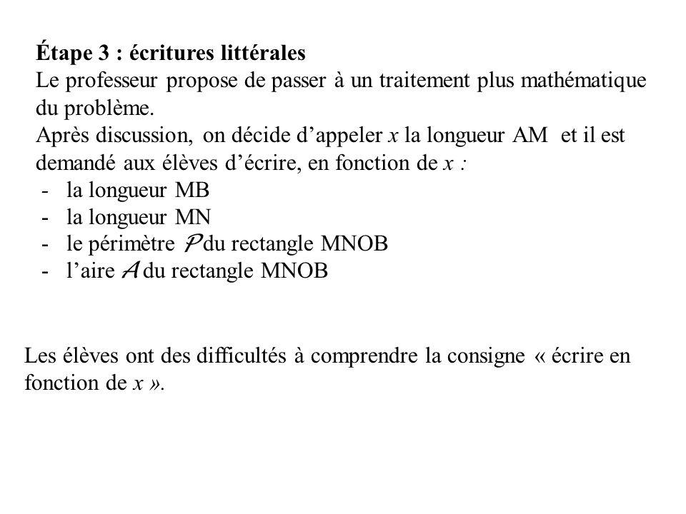Étape 3 : écritures littérales Le professeur propose de passer à un traitement plus mathématique du problème. Après discussion, on décide dappeler x l