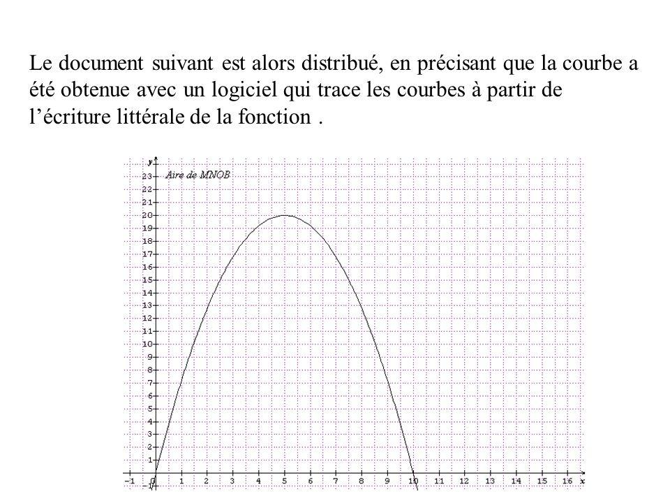 Le document suivant est alors distribué, en précisant que la courbe a été obtenue avec un logiciel qui trace les courbes à partir de lécriture littéra