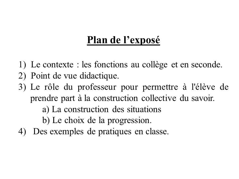 Plan de lexposé 1) Le contexte : les fonctions au collège et en seconde. 2) Point de vue didactique. 3)Le rôle du professeur pour permettre à l'élève