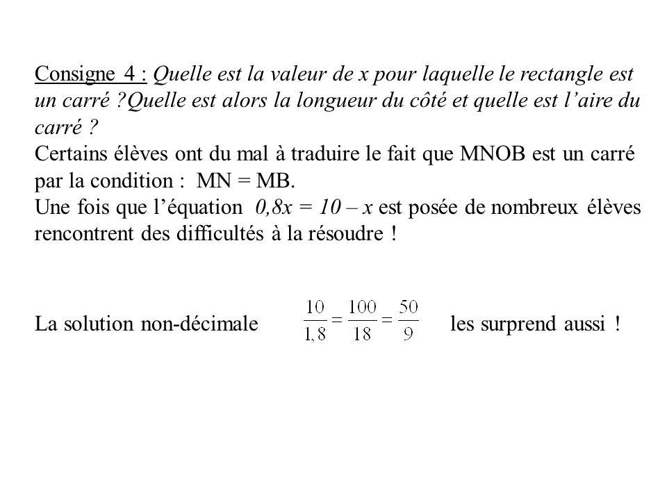 Consigne 4 : Quelle est la valeur de x pour laquelle le rectangle est un carré ?Quelle est alors la longueur du côté et quelle est laire du carré ? Ce