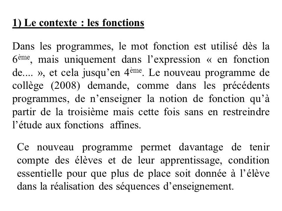 1) Le contexte : les fonctions Dans les programmes, le mot fonction est utilisé dès la 6 ème, mais uniquement dans lexpression « en fonction de.... »,