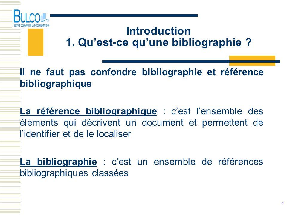 4 Introduction 1. Quest-ce quune bibliographie ? Il ne faut pas confondre bibliographie et référence bibliographique La référence bibliographique : ce