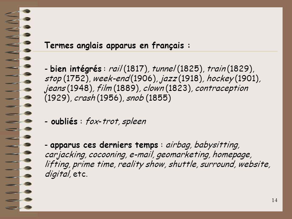 13 Les anglicismes : Termes anglais apparus en français cest la forme la plus courante de langlicisme. De 1994 à 2000, le C.Q.F.D. en a analysé plus d