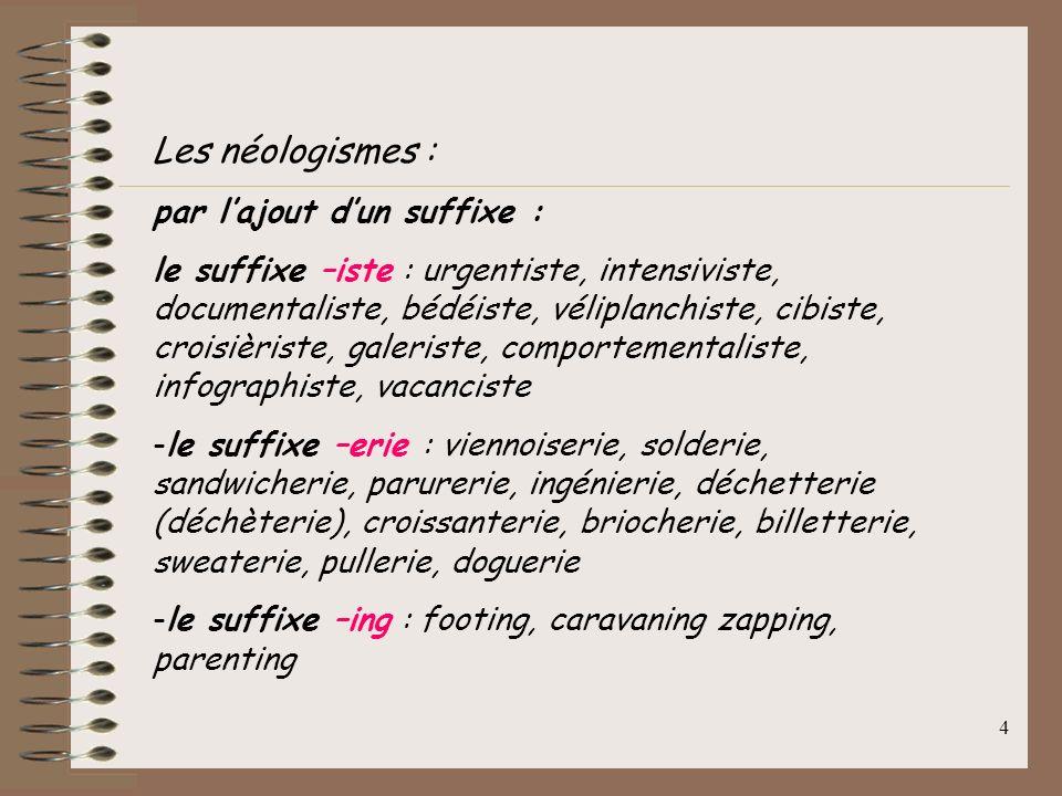 14 Termes anglais apparus en français : - bien intégrés : rail (1817), tunnel (1825), train (1829), stop (1752), week-end (1906), jazz (1918), hockey (1901), jeans (1948), film (1889), clown (1823), contraception (1929), crash (1956), snob (1855) - oubliés : fox-trot, spleen - apparus ces derniers temps : airbag, babysitting, carjacking, cocooning, e-mail, geomarketing, homepage, lifting, prime time, reality show, shuttle, surround, website, digital, etc.