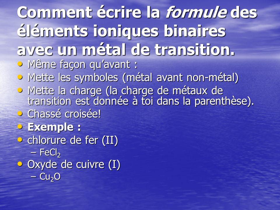 Comment écrire la formule des éléments ioniques binaires avec un métal de transition. Même façon quavant : Même façon quavant : Mette les symboles (mé