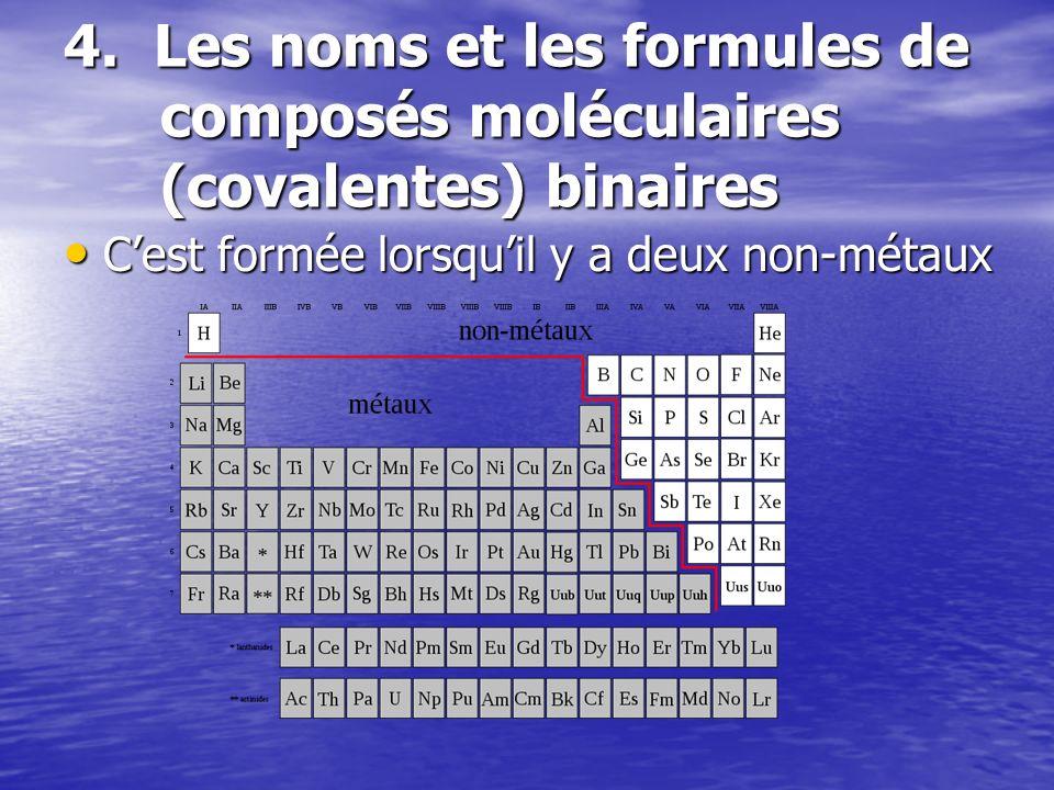 4. Les noms et les formules de composés moléculaires (covalentes) binaires Cest formée lorsquil y a deux non-métaux Cest formée lorsquil y a deux non-