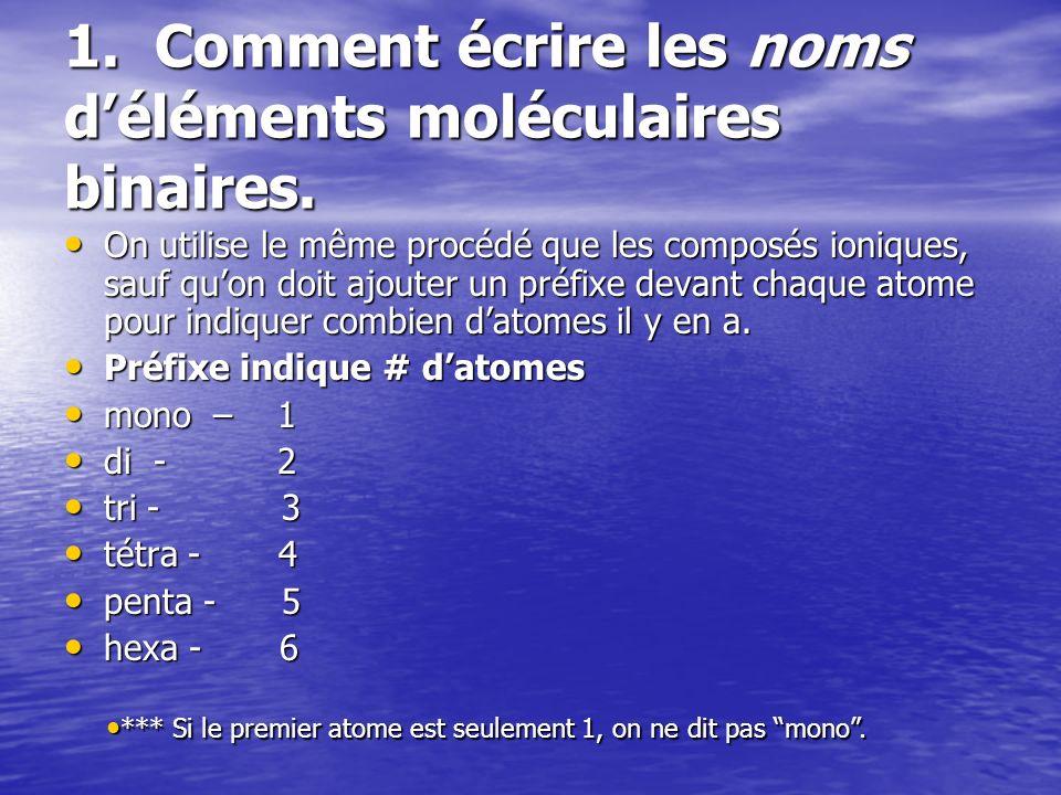 1. Comment écrire les noms déléments moléculaires binaires. On utilise le même procédé que les composés ioniques, sauf quon doit ajouter un préfixe de