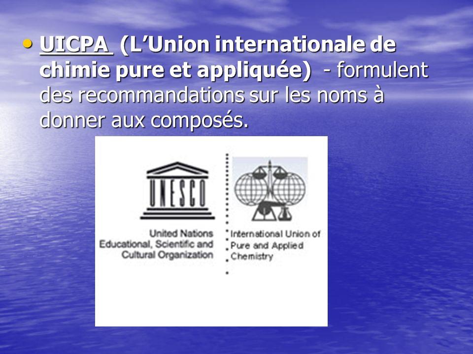 UICPA (LUnion internationale de chimie pure et appliquée) - formulent des recommandations sur les noms à donner aux composés. UICPA (LUnion internatio