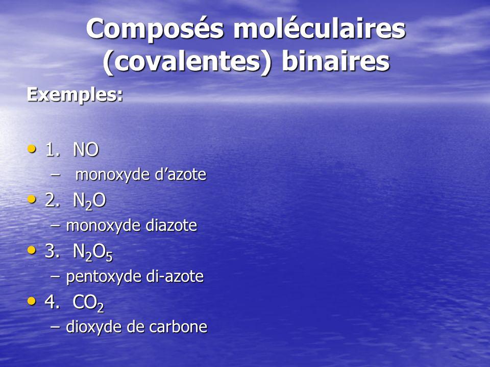 Composés moléculaires (covalentes) binaires Exemples: 1. NO 1. NO –monoxyde dazote 2. N 2 O 2. N 2 O –monoxyde diazote 3. N 2 O 5 3. N 2 O 5 –pentoxyd