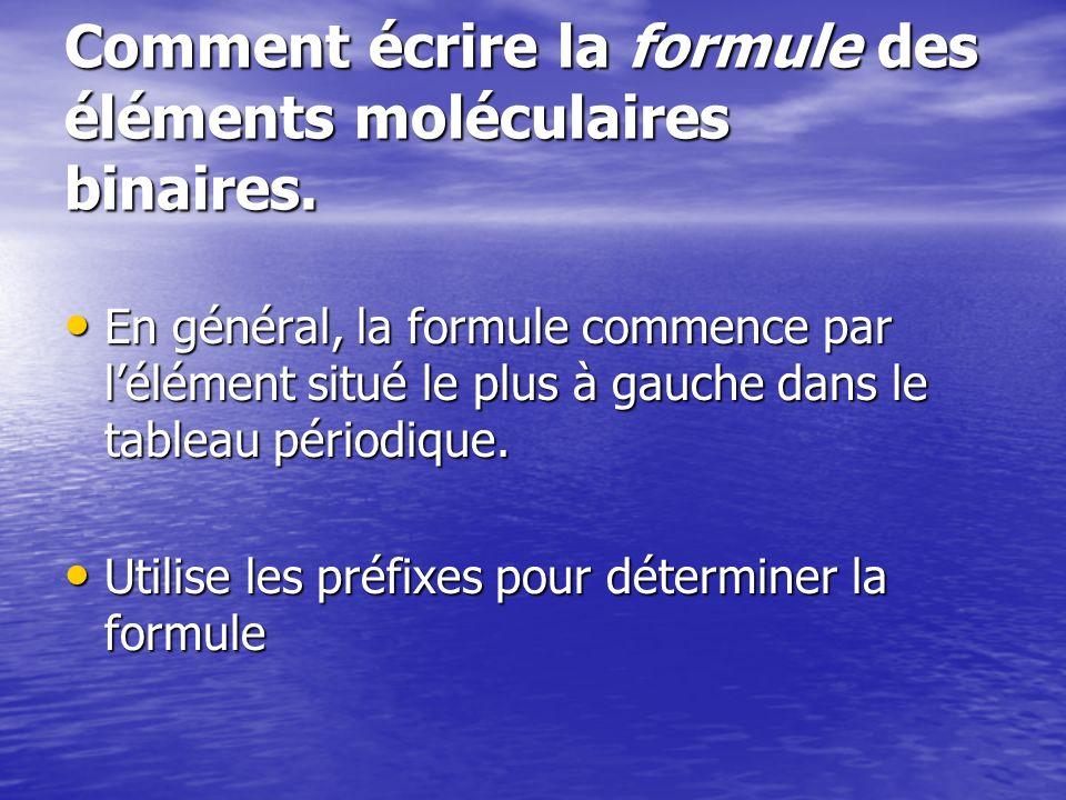 Comment écrire la formule des éléments moléculaires binaires. En général, la formule commence par lélément situé le plus à gauche dans le tableau péri