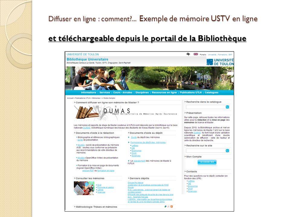 Diffuser en ligne : comment?... Exemple de mémoire USTV en ligne et téléchargeable depuis le portail de la Bibliothèque