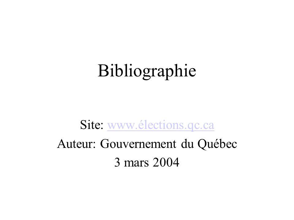 Bibliographie Site: www.élections.qc.cawww.élections.qc.ca Auteur: Gouvernement du Québec 3 mars 2004