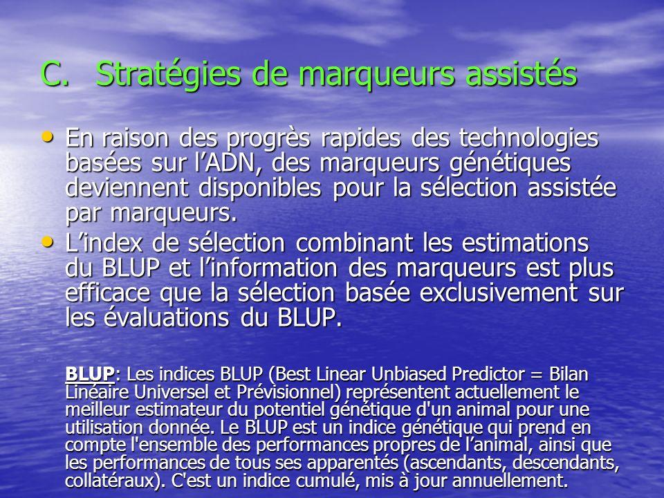 C.Stratégies de marqueurs assistés En raison des progrès rapides des technologies basées sur lADN, des marqueurs génétiques deviennent disponibles pou