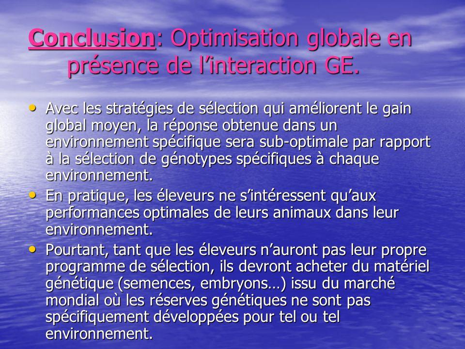 Conclusion: Optimisation globale en présence de linteraction GE. Avec les stratégies de sélection qui améliorent le gain global moyen, la réponse obte