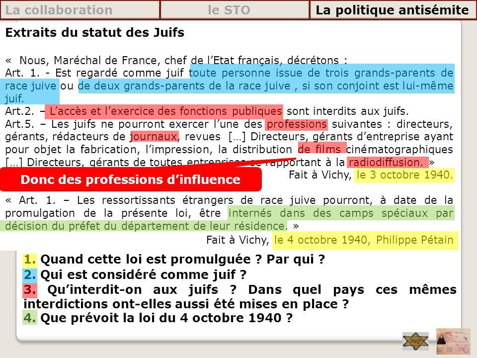 La collaboration le STO La politique antisémite Extraits du statut des Juifs « Nous, Maréchal de France, chef de lEtat français, décrétons : Art. 1. -