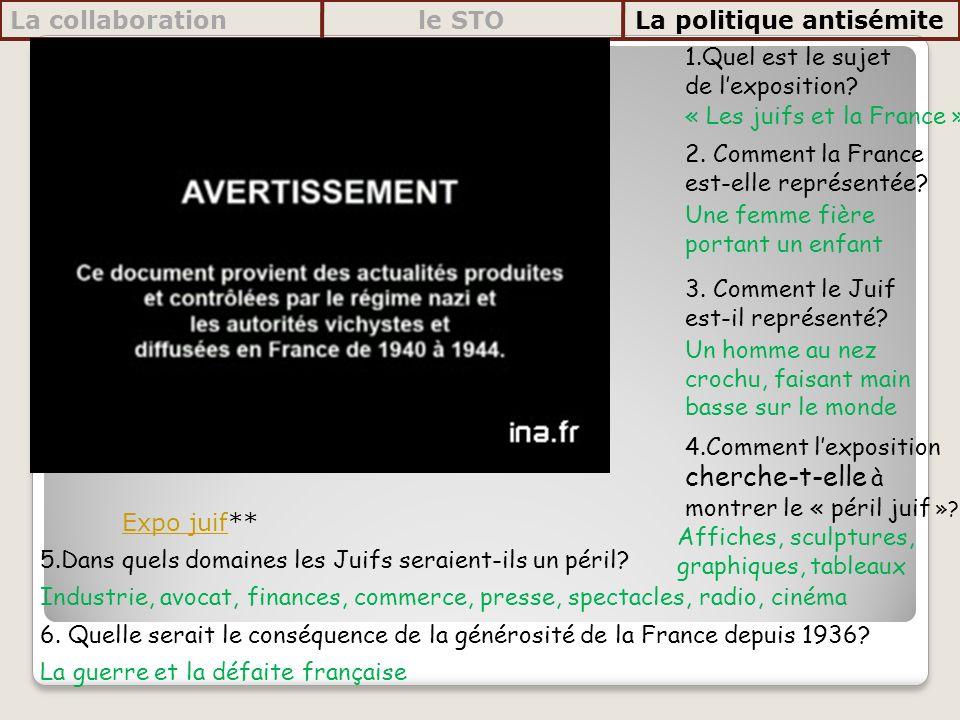 1.Quel est le sujet de lexposition? 2. Comment la France est-elle représentée? 3. Comment le Juif est-il représenté? 4.Comment lexposition cherche-t-e